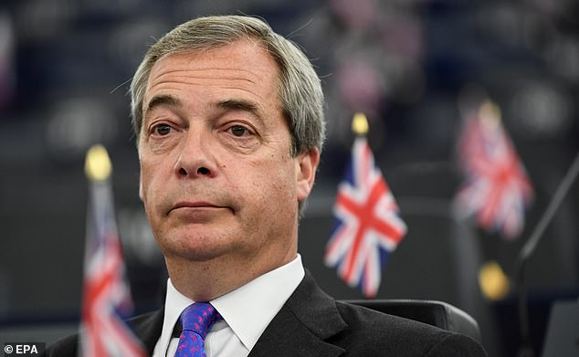 Mr Farage (pictured) promised to fight under the banner of his unnamed party in the European elections next May if the two-year EU divorce process under Article 50 is extended beyond next March