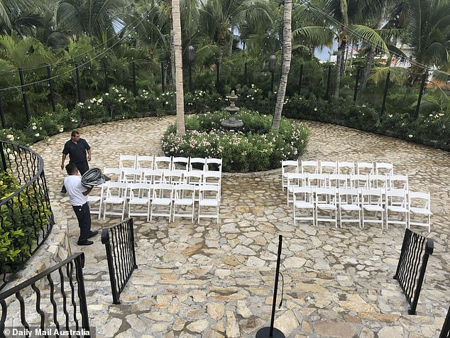 Quaint: Chairs have been set up outside the chapel in preparation for the ceremony