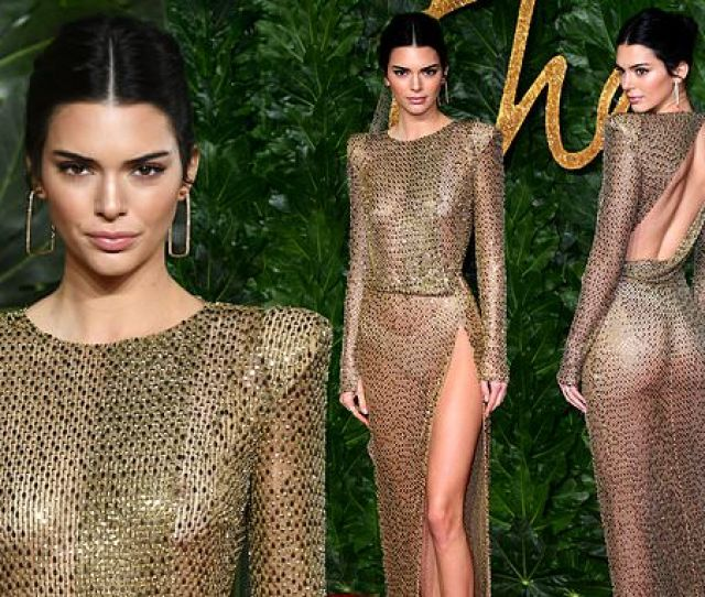 British Fashion Awards Kendall Jenner Leaves Little To The Imagination In A Sheer Gold Beaded Dress Daily Mail Online