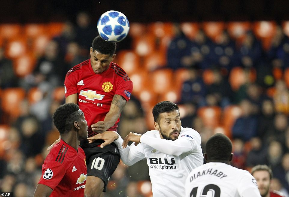 Marcus Rashford scored a late consolation goal for United as he rose highest to head home four minutes from time