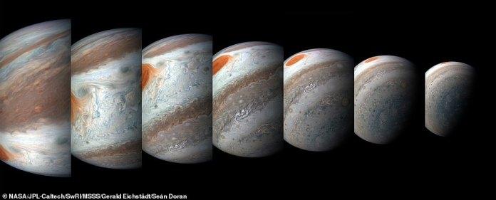Eine südtropische Störung ist gerade an Jupiters ikonischem Great Red Spot vorbeigekommen und wird in dieser Serie von farbverstärkten Bildern der Juno-Raumsonde der NASA gestohlen, die orangefarbenen Dunst des Great Red Spot stiehlt. Von links nach rechts wurde diese Sequenz von Bildern am 1. April 2018 zwischen 02:57 Uhr und 03:36 Uhr PDT (5:57 Uhr und 6:36 Uhr EDT) aufgenommen