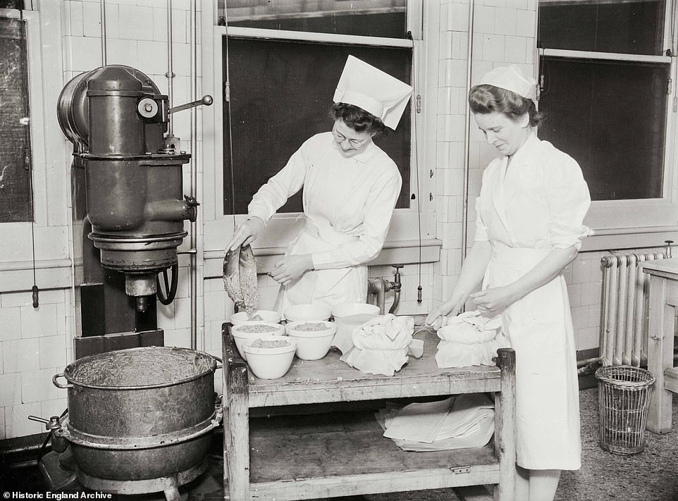 Making Christmas pudding proved to be a popular trend at the hospitals during the festive season, several images document nurses whipping up the delicious treat (pictured in 1941)