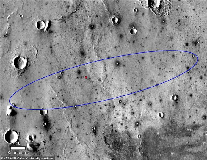 A series of images captured this week by MRO's HiRISE camera have confirmed that the lander (red dot), the heat shield and the parachute are all within 300 meters of each other on a lava plain called Elysium Planitia. Previously, the space agency knew that they had landed an ellipse of 81 miles (blue)