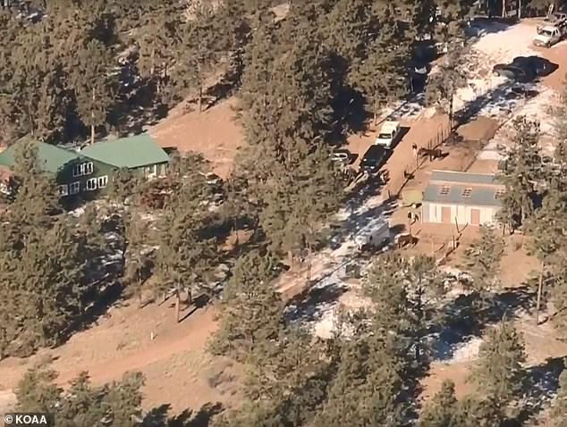 An aerial image (pictured) of police searching Patrick Frazee's property at Wildhorn Road in Florissant