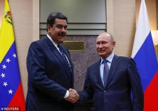Russia reportedly struck a deal with socialist President of Venezuela Nicolas Maduro (left) to use the island ofLa Orchila, 125 miles northeast of Caracas