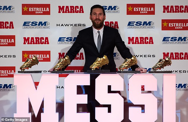 Barcelona star Messi has now won five Golden Shoe awards — more than any other player