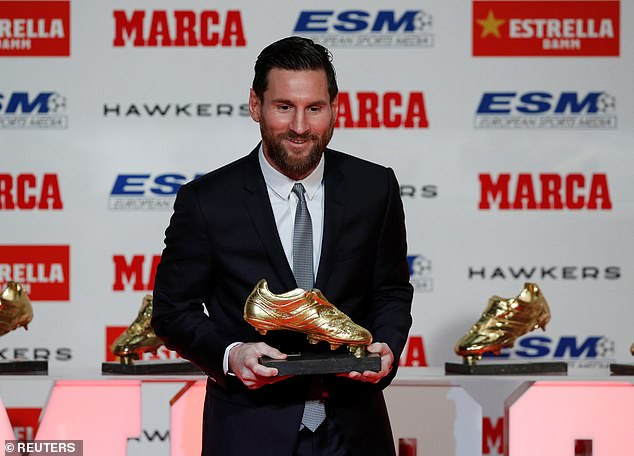 Lionel Messi was presented with the 2017-18 Golden Shoe award at Tuesday's ceremony