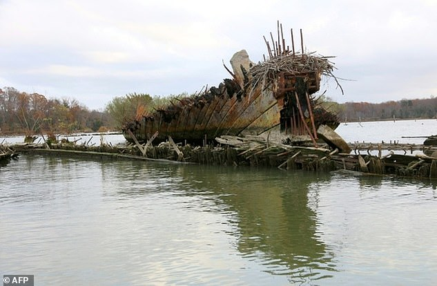 One of the wooden vessels in an area of the Potomac River, called Mallows Bay, in Maryland, USA