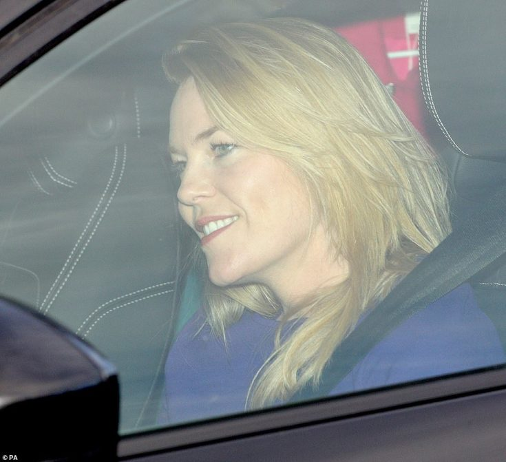 Pop of colour: Princess Anne's daughter-in-law Autumn Phillips donned a purple ensemble for the family gathering
