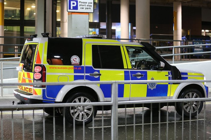 Police are pictured at the scene in Gatwick were two drones were spotted flying near aircraft, causing chaos across the continent