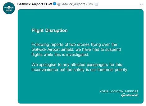 Gatwick Airport confirmed they suspended flight operations after two drones were seen in the area surrounding the aerodrome. They said it was necessary to take this action for safety reasons