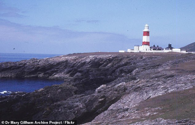The island, Ynys Enlli, is said to have become an important religious hub in the sixth century (pictured, Bardsey Lighthouse)