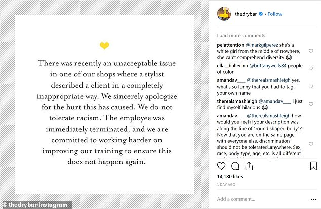On Thursday the company apologized (pictured) over the incident and said the employee who wrote the offensive term had been fired