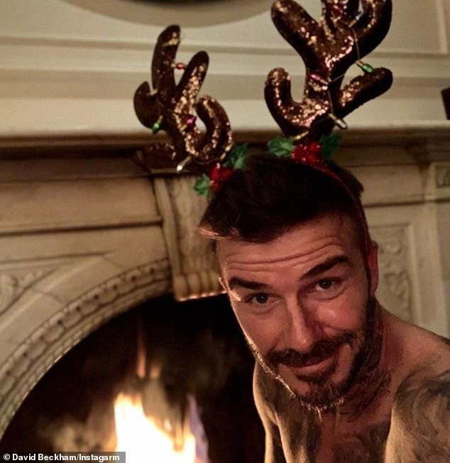 Hair we go, hair we go, hair we go! David Beckham posed a shirtless snap on Instagram on Monday, wishing his fans a Merry Christmas - and sporting a notably thicker mane of hair