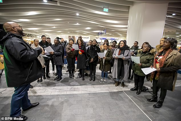 Carol singers, a DJ, and Santa also made an appearance at the free yuletide event on Christmas Eve