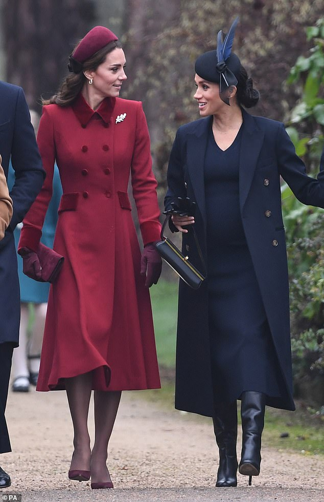 In 2017, Kate held on to William's hand but this year chose to walk apart from her husband and close to her sister-in-law as they worked hard to show they're friendship isn't cooling