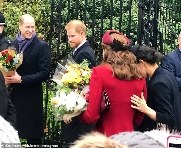 Power patting: Meghan pats Kate's back as the couples leave church yesterday, again a gesture favoured by statesmen and women, says body language expert James, that strives to show approval between the two duchesses