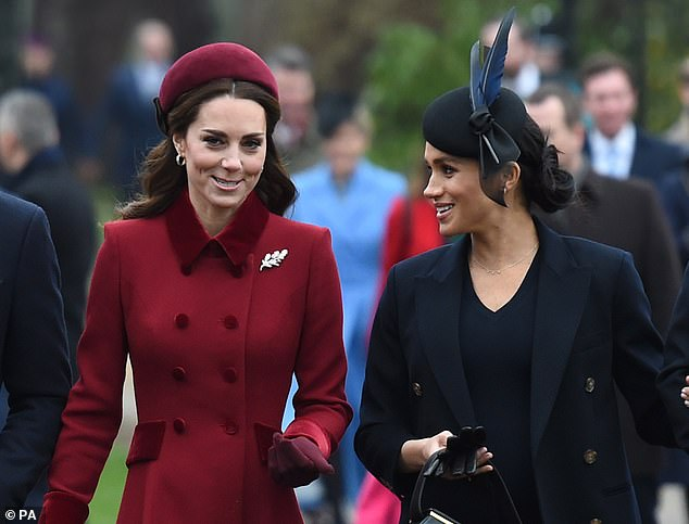 Performance? The Duchess of Cambridge and the Duchess of Sussex appeared to put on a unified display after weeks of swirling rumours about their frosty friendship...and body language expert Judi James says the sisters-in-law used tactics employed by politicians to show their festive unity