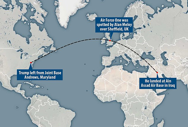 A map showing the trajectory of the plane going from Joint Base Andrews to Ain Assad Air Base in Iraq