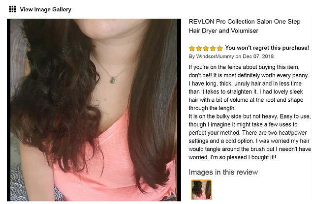 This shopper, known only as WindsorMummy, shared a snap showing one half of her hair styled and the other au natural. She wrote: 'It is most definitely worth every penny. I have long, thick, unruly hair and in less time than it takes to straighten it I [now] have lovely sleek hair'