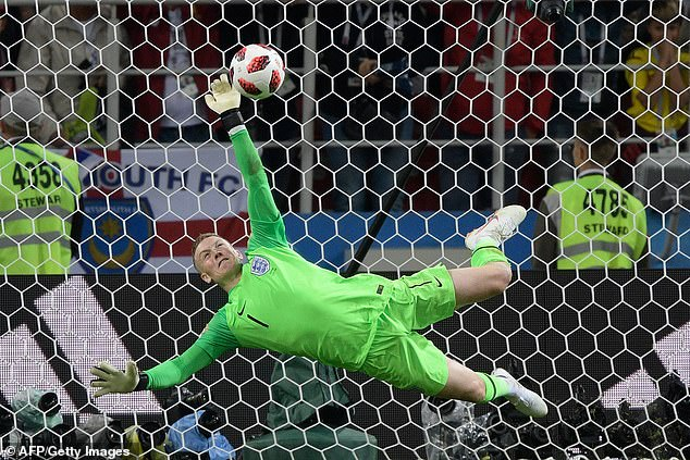 Jordan Pickford stops Colombia's forward Carlos Bacca's penalty in the shootout in Moscow
