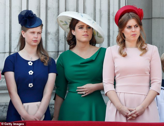 Lady Louise, 16 (left) was born prematurely in 2003, causing a condition called strabismus, which left her with what the countess described as a 'profound' squint. Pictured with Princess Eugenie and Princess Beatrice on the balcony of Buckingham Palace during Trooping The Colour 2018 on June 9, 2018 in London