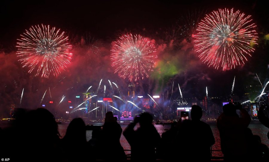 HONG KONG: The Chineseautonomous territory held a fireworks and light show above the Victoria Harbor