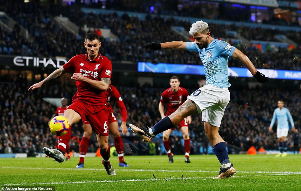 Sergio Aguero broke the deadlock when the Argentine got ahead of Dejan Lovren who was caught sleeping at his near post