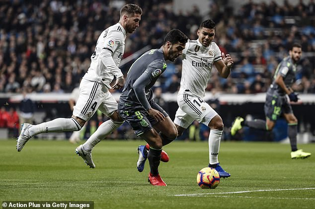 Casemiro clumsily ran into Mikel Merino inside the area to give away a penalty in third minute