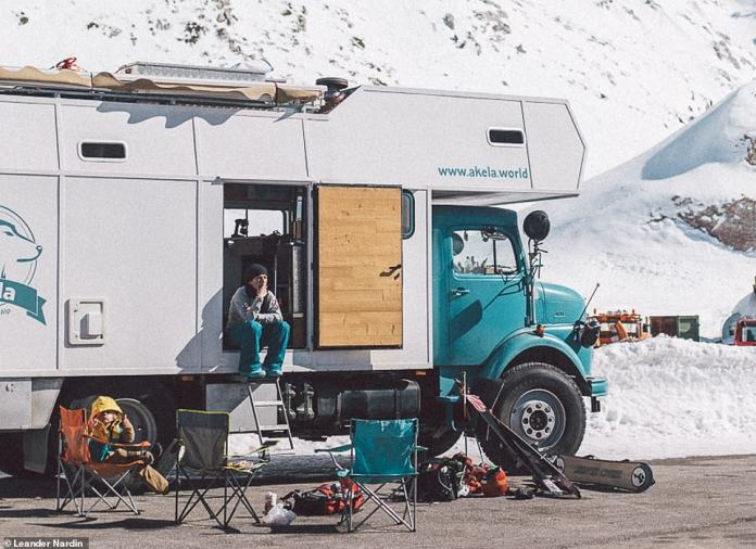 The truck now boasts two bedrooms, a living room, a kitchen, a bathroom and a shower in a space of only 12 square meters. It is depicted here near Mount Parnassus in central Greece