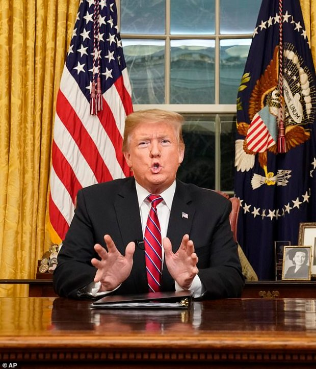 President Donald Trump spoke for nine minnutes from the Oval Office of the White House on Tuesday, shaming congressional Democrats as he blamed them for bloodshed caused by illegal immigrants