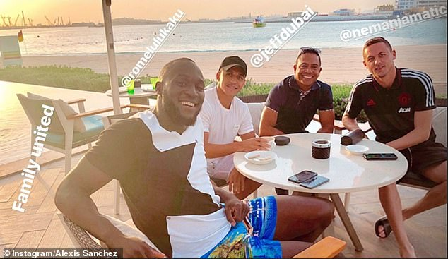 Manchester United stars Romelu Lukaku, Alexis Sanchez and Nemanja Matic watched the sun set in Dubai on the final night of their warm weather training camp