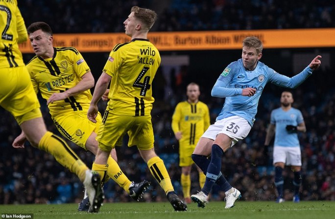 Oleksandr Zinchenko scored City's fourth in the first-half when his dipping effort lobbed the goalkeeper and flew into the net