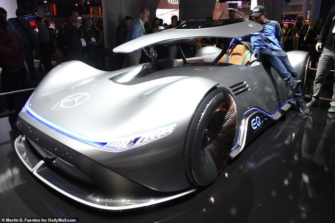 Mercedes'  EQ Silver Arrow concept car (pictured) was  on view, which is designed to pay homage to the  retro racing car, Mercedes' W125 Grand Prix racing car. The firm  debuted a  concept car, called the 'Vision iNext,' which features 'Shy Tech.'
