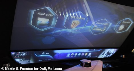 In multimedia mode, users can watch videos on the windshield while the car transports them, or even activate immersive scenery that makes them feel like they're at the beach