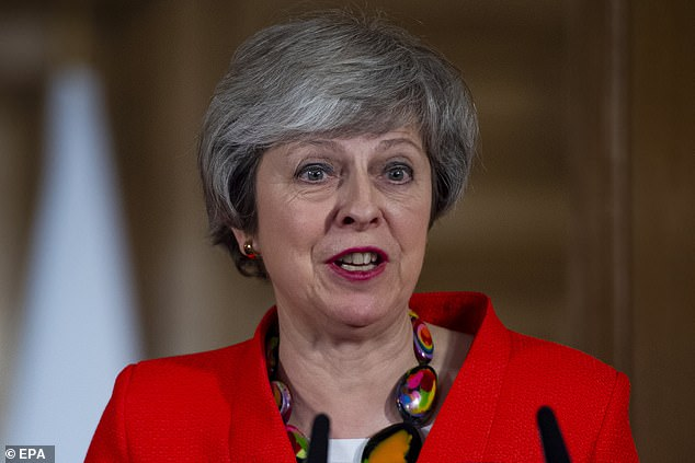 British Prime Minister Theresa May speaks during a press conference with Prime Minister Shinzo Abe of Japan