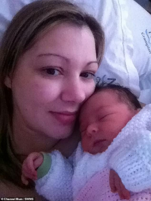 The 38 year old approached the sofa with the help of partner Aidan Johnson, 40, who covered her with a towel while waiting for the paramedics (pictured with her daughter Nadie in 2011)