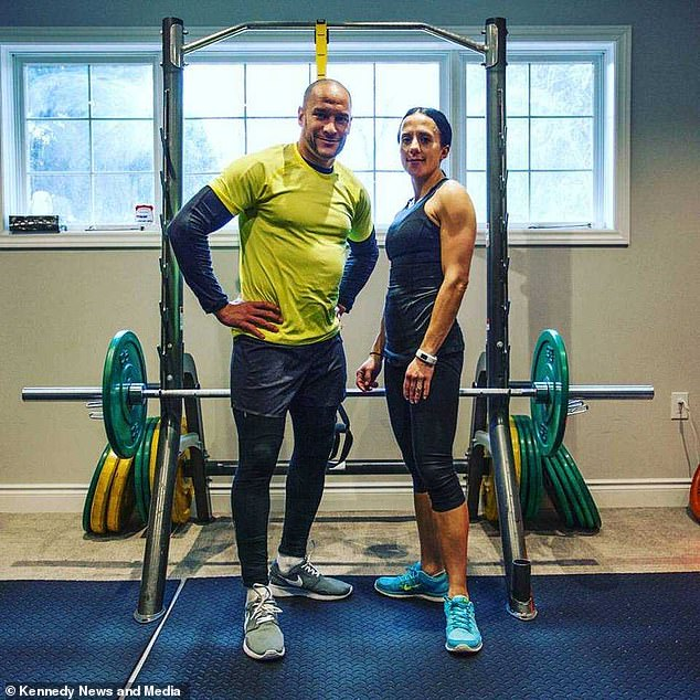 Father De-tre, John DePass, 46, depicted with his wife Dora, 45, has dedicated 30 years of his life to bodybuilding, but after developing chronic pain, three years ago he chose to renew his lifestyle