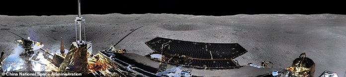 China's lunar probe has sent the first panoramic image (left half, pictured) of its landing site since its historic arrival on the far side of the moon, showing the cratered landscape it is exploring.A camera deployed on Chang'e-4 took a photo that was released by the China National Space Administration (CNSA)