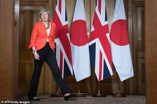 Theresa May (pictured last night in No 10) has promised to get new reassurances from Brussels the Irish border backstop element of the divorce deal could not become a permanent solution
