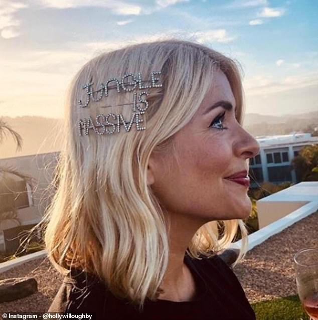 Celebrities including Holly Willoughby have been wearing over-sized sparkly slides in their hair to add a playful touch to any look. Pictured, at the I'm A Celebrity wrap party last year