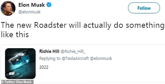 Musk does the claim by retouching an image of the famous DeLorean car from Back to the Future, adding: & # 39; The new Roadster does something like this.