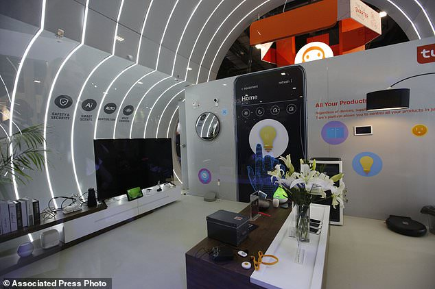A smart home mockup can be seen in the Tuya stand at CES International, Wednesday 9 January 2019, in Las Vegas. (AP Photo / John Locher)