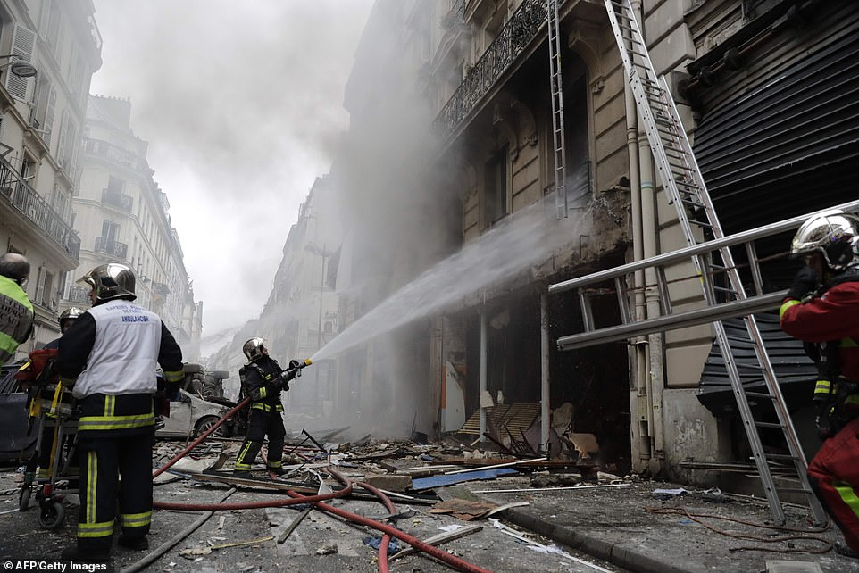 Paris firefighters have been battling a blaze at a bakery caused by a suspected gas explosion at a bakeryon the corner of the streets Saint-Cecile and Rue de Trevise