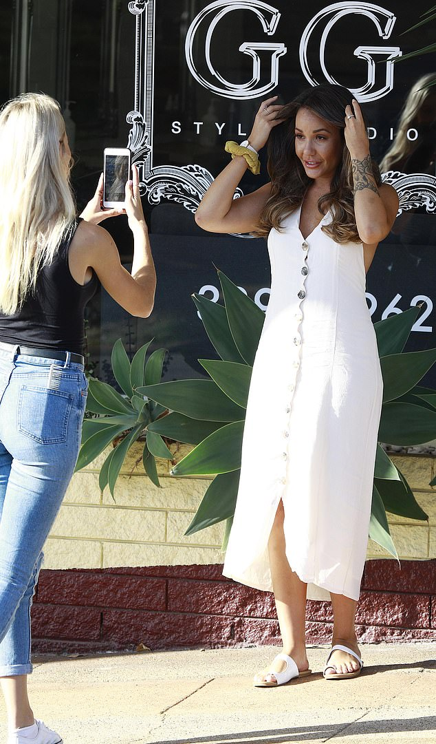 What a change! Exiting a hair salon in Brisbane, the reality star looked noticeably different as she flaunted her new bronde-coloured hair 'do