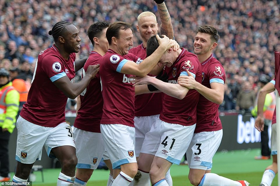 Rice was plagued by Captain Mark Noble and his West Ham teammates when the scenes became lively in London's stadium