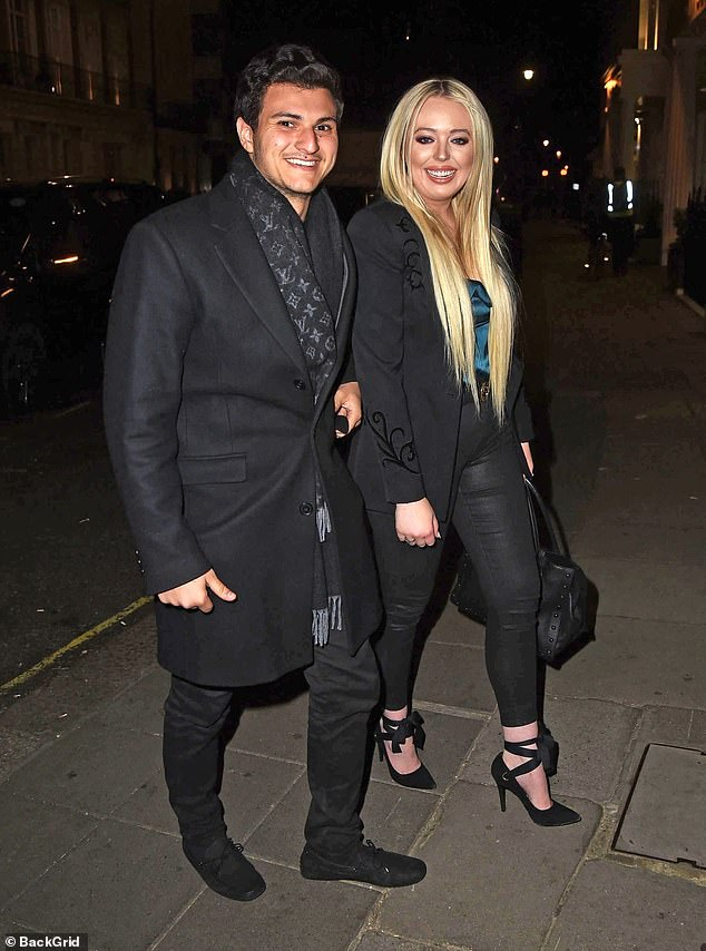 Smitten: Donald Trump's daughter Tiffany Trump enjoyed a night out in Knightsbridge, London on Friday, accompanied by her new billionaire heir boyfriend Michael Boulos