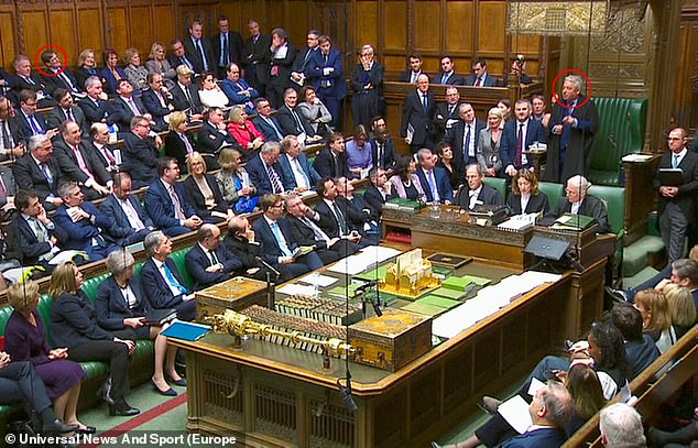 Under fire: Commons Speaker John Bercow (circled right) defending his controversial decision to call an amendment tabled by Tory MP Dominic Grieve (circled left)