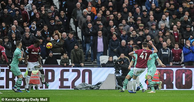 Midfielder Declan Rice grabbed his first career goal on his 55th appearance for the Hammers
