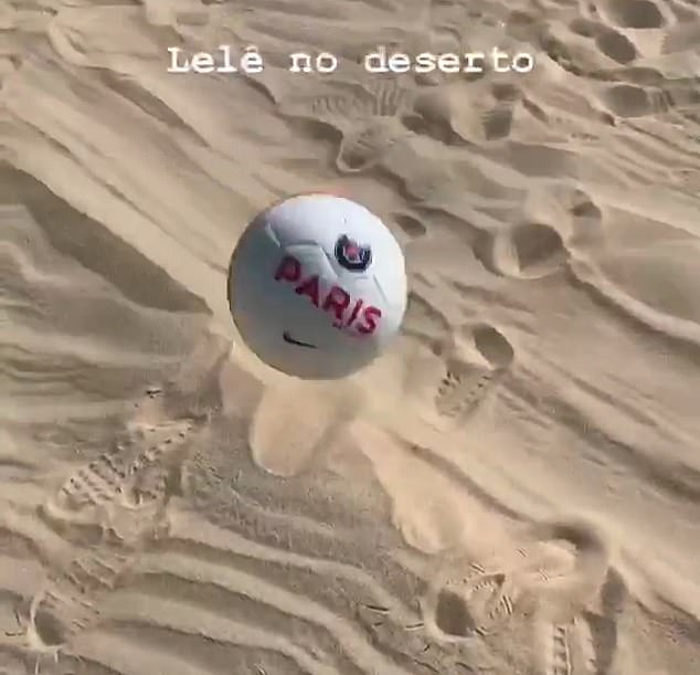 Neymar posted a video of him doing keepy-uppys on the sand with a PSG branded ball